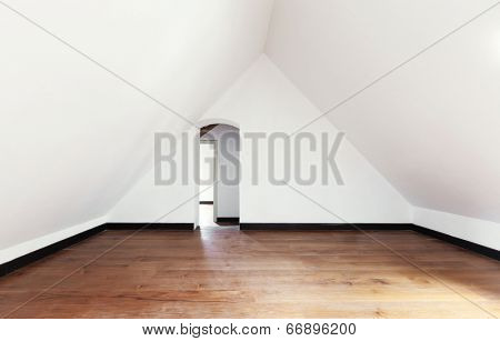interior, old attic with wooden floor