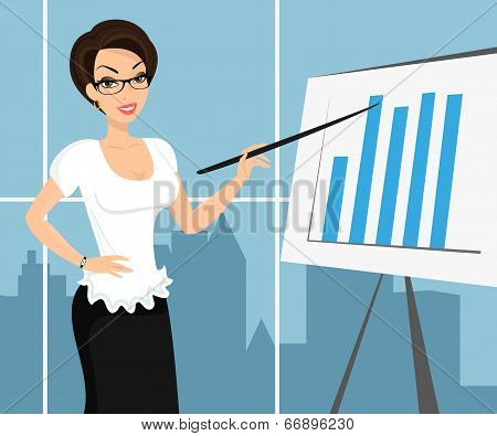 Business woman wearing white blouse and representing a diagram