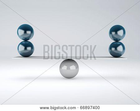Blue Spheres In Equilibrium. Balance Concept