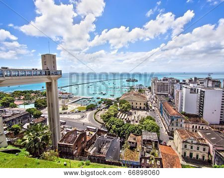 Lacerda Elevator and All Saints Bay in Salvador, Bahia, Brazil