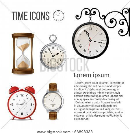 Watch time icons over white background