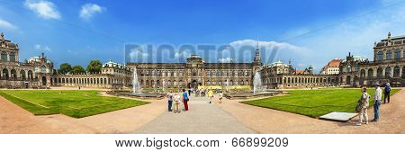Panoramic View Of Zwinger (der Dresdner Zwinger), Historic Heart Of Dresden, Germany.