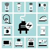 picture of electric trimmer  - Set of vector electric household appliances icons - JPG