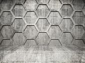 stock photo of honeycomb  - Abstract concrete interior with honeycomb structure on gray wall - JPG