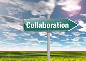 picture of collaboration  - Signpost Image Graphic Illustration with Collaboration wording - JPG