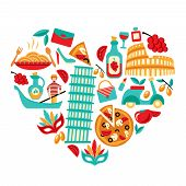 stock photo of olive shaped  - Italy decorative elements icons set in heart shape vector illustration - JPG