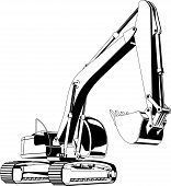 pic of excavator  - Vector illustration of a excavator - JPG