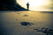 stock photo of footprints sand  - Footprint in the sand and the figure of a man cultivating Nordic walking - JPG