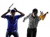 foto of referee  - american football referee and coach conflict dispute in silhouette on white background - JPG