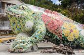stock photo of giant lizard  - Giant Sculpture of a Lizard - JPG