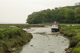 picture of marshlands  - A boat moored in a channel through marshland at the River Taf estuary in Laugharne - JPG