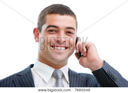 Portrait Of A Confident Businessman On Phone