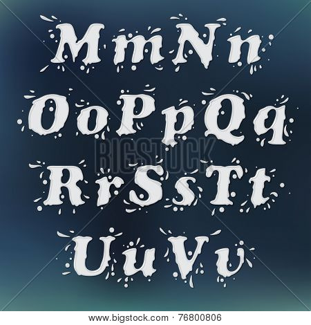 Milk Splash Font. Set Vol.2 M-u