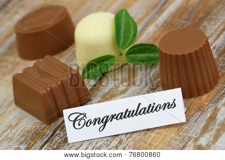 Congratulations card with assorted chocolates