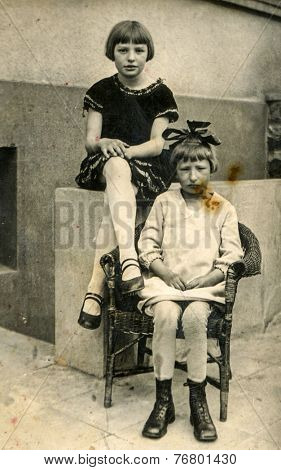 GERMANY, CIRCA 1930:  Vintage photo of two little girls