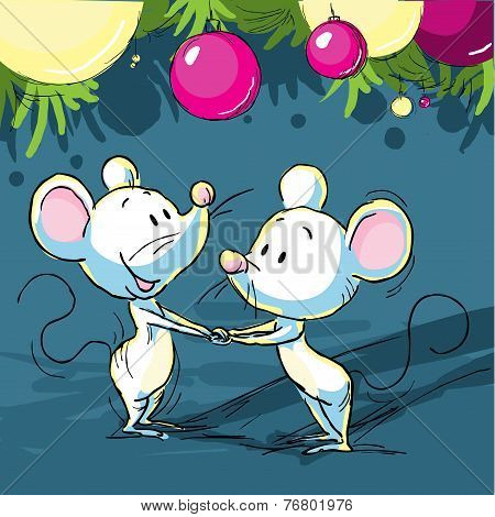 Christmas Still Life With A Mouse And Xmas Ball - Vector Illustration