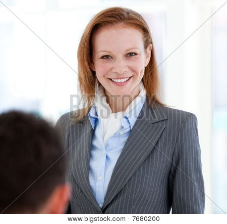 Portrait Of A Smiling Businesswoman Standing