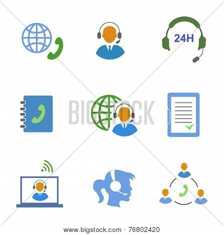 Call center service icons set of contacts mobile phone and communication isolated vector illustratio