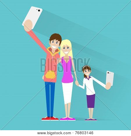 family taking selfie photo on smart phone couple