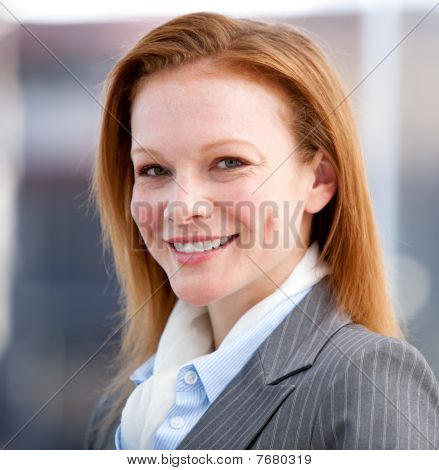 Confident Business Woman Looking At The Camera