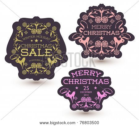 Vector set of Christmas Sale Tag