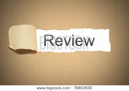 Brown Package Paper Torn To Reveal White Space Review