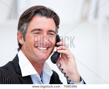 Handsome Mature Businessman Talking On Phone