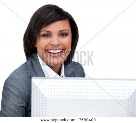 Positive Businesswoman Working At A Computer