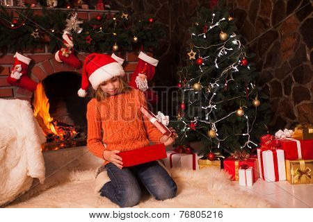 Teenage girl with gift