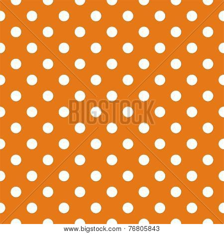 Tile vector pattern, texture or background with seamless white polka dots on orange background