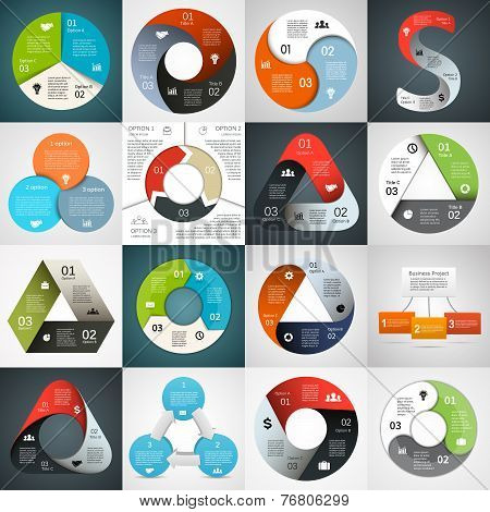 Vector circle and triangle infographics set. Template for diagram, graph, presentation and chart. Bu