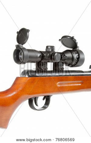 Air Rifle With A Telescopic Sight And A Wooden Butt