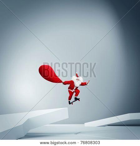 Santa Claus Riding A Skateboard