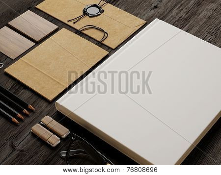 Identity Elements On Wood Background