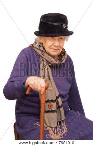 The Sad Old Lady Isolated On White Background