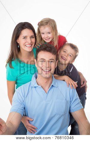 Amused Family On White Background