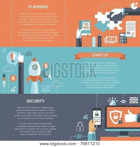 Set of modern flat design business infographics banners