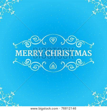 Fancy ornate borders with text merry christmas at blue background
