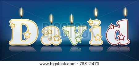 DAVID written with burning candles - vector illustration