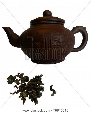 clay teapot, oolong tea, isolated on white background