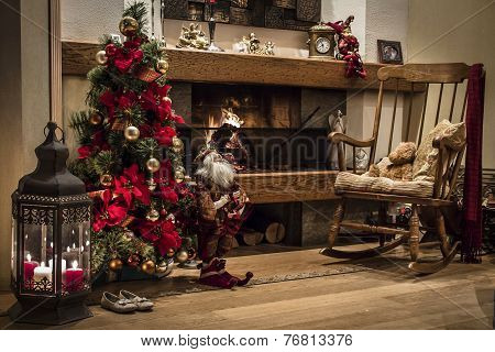 Beautiful Christmas Tree Near Burning Fireplace