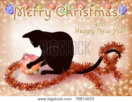 Christmas and New Year card with a black cat