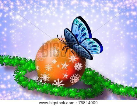 Christmas card with a butterfly