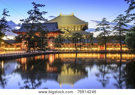 Nara, Japan at Todaiji Temple at twilight.