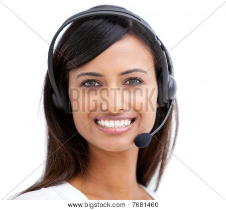 Smiling Customer Service Representative