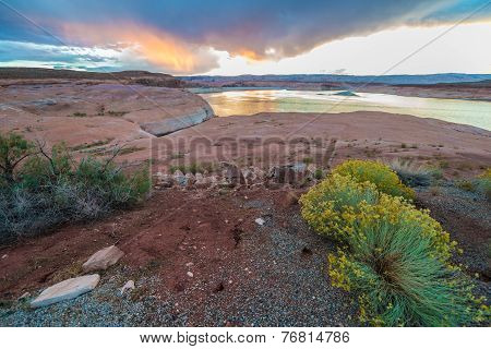 Lake Powell At Sunset Taken From Halls Crossing