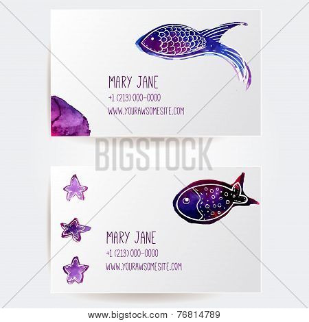 Set of two creative business card templates with artistic vector design. Hand drawn watercolor viole