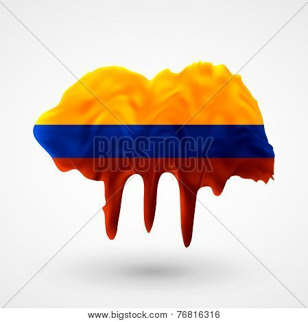 Flag of Colombia painted colors