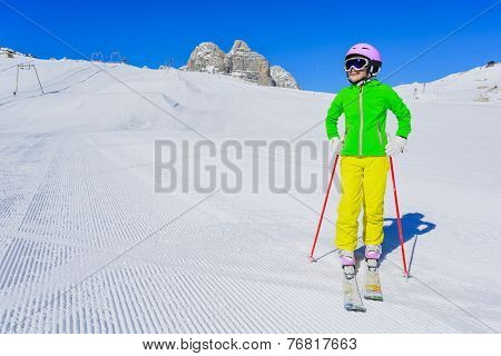 Skiing, winter, ski vacation - young skier on mountainside