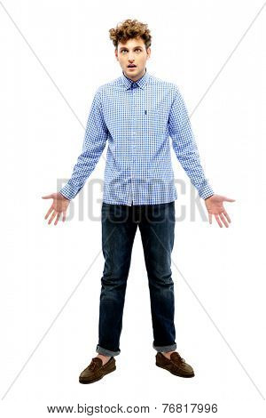 Full length portrait of dissatisfied man over white background